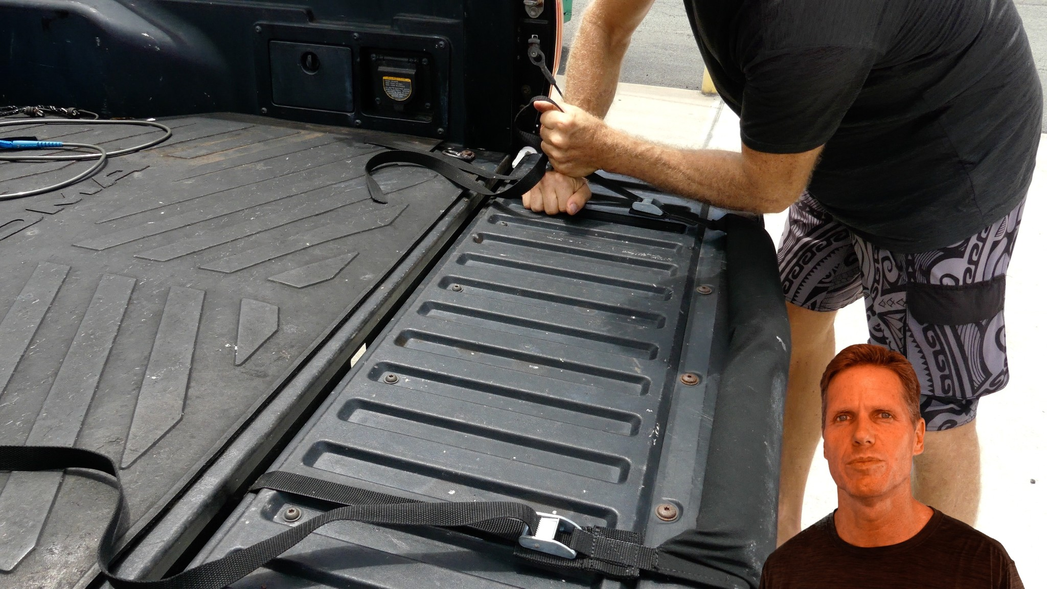 how to strap board to truck tail gate rack