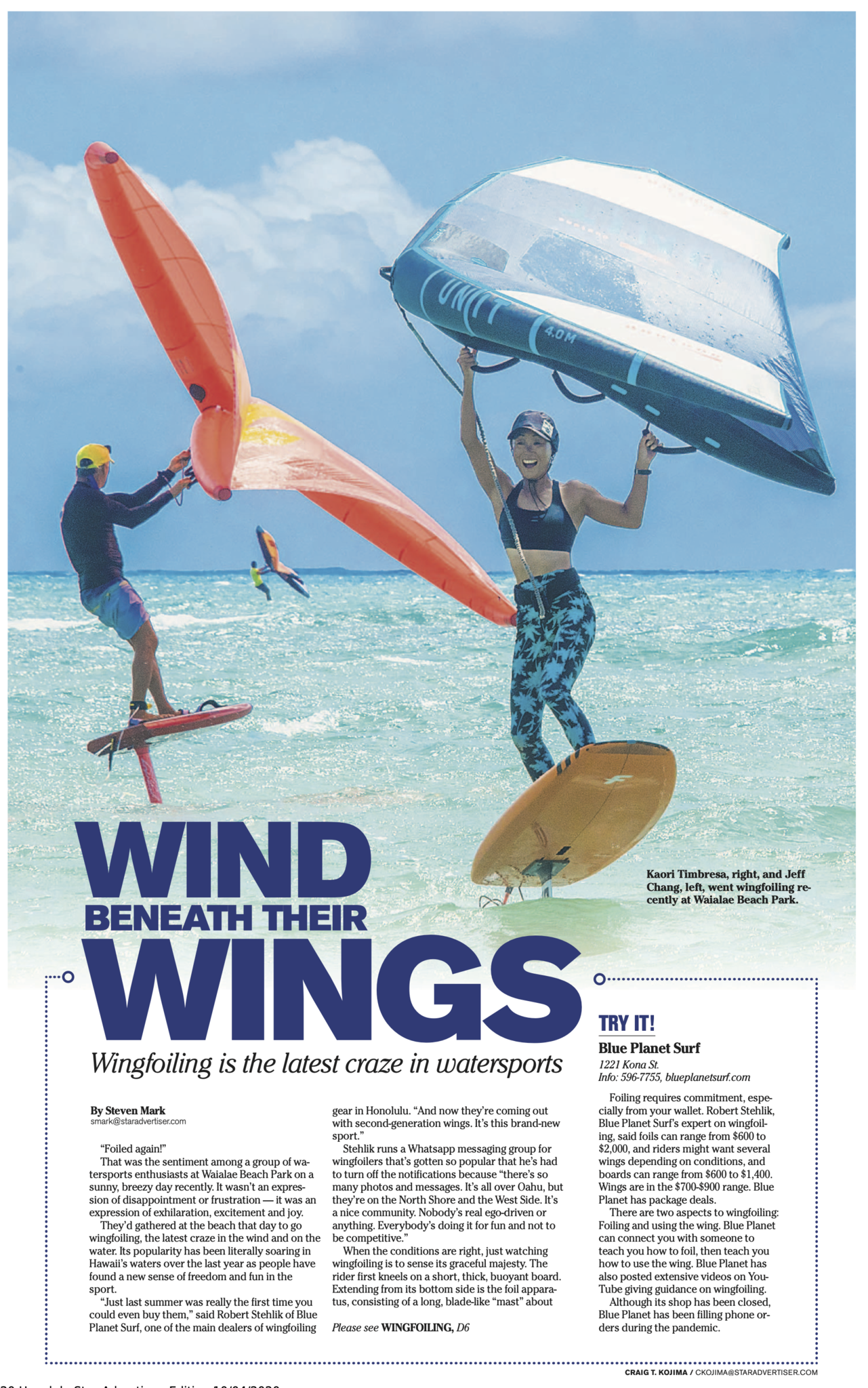 wing foiling in newspaper