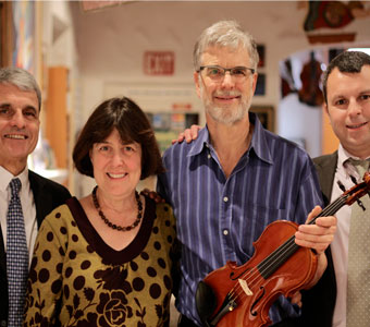Tom & Barbara with Bernard & Cyril Maillot, owners of Aubert Lutherie, Corelli Strings, and Bernardel Rosin in France at a special event at Metzler's on January 29, 2013.