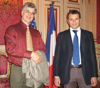 Tom Metzler with Cyril Maillot (of Corelli Strings and Aubert Lutherie), at a reception at the mayors palace in Lyon, France.