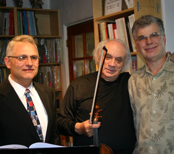 Russian violinist Daniel Shindaryev (center) plays an evening of Paganini Caprices from a new edition of these works by Gregory Shir (left).