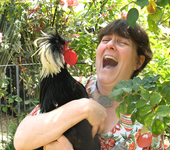 A favorite photo of Barbara and her rooster!