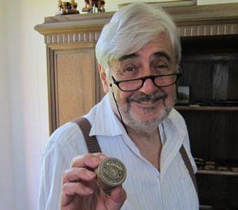 Klaus Götz, owner of the well-known Götz string instrument wholesale company, shows us an old example of 'Lapella' violin rosin at his headquarters in Wernitzgrün, Germany.