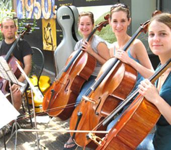 Leah Metzler (forground) with cello quartet at Aspen Music Festival.