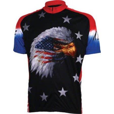 World Jerseys American Eagle Men's Cycling Jersey: Black, XL