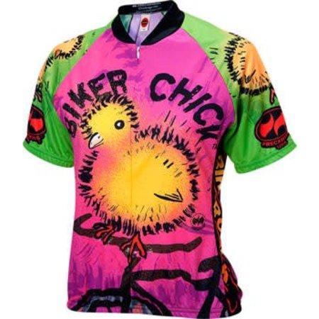 World Jerseys Chick on a Bike Women's Cycling Jersey: Pink LG