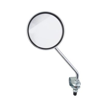Handlebar Mount Round Mirror with Red Reflector