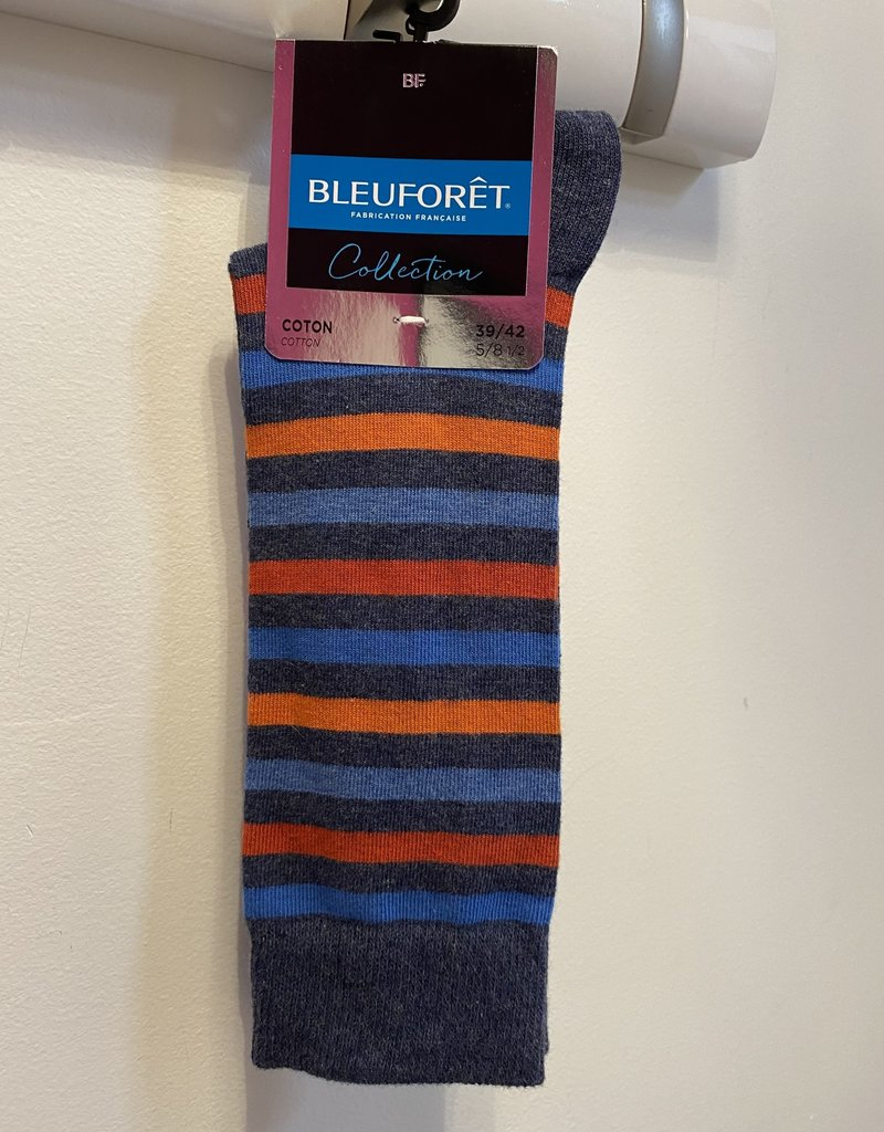 Bleu Forêt Multiple color striped urban socks