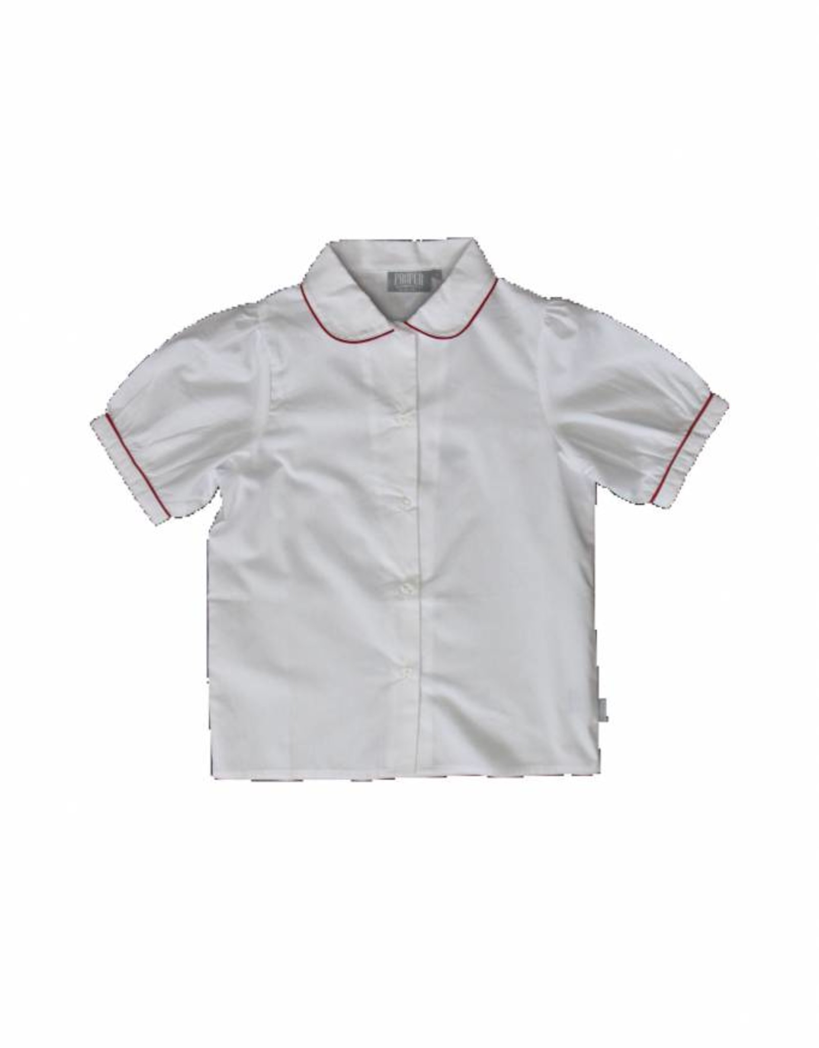 Proper Uniforms SHIRT-White w/Red Piping Toddler