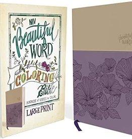 BEAUTIFUL WORD COLORING BIBLE -Large Print-Purple/Tan Leathersoft