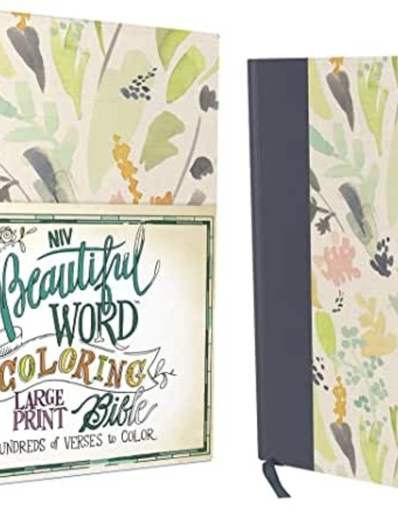 BEAUTIFUL WORD COLORING BIBLE -Large Print-Navy/Floral Hardcover