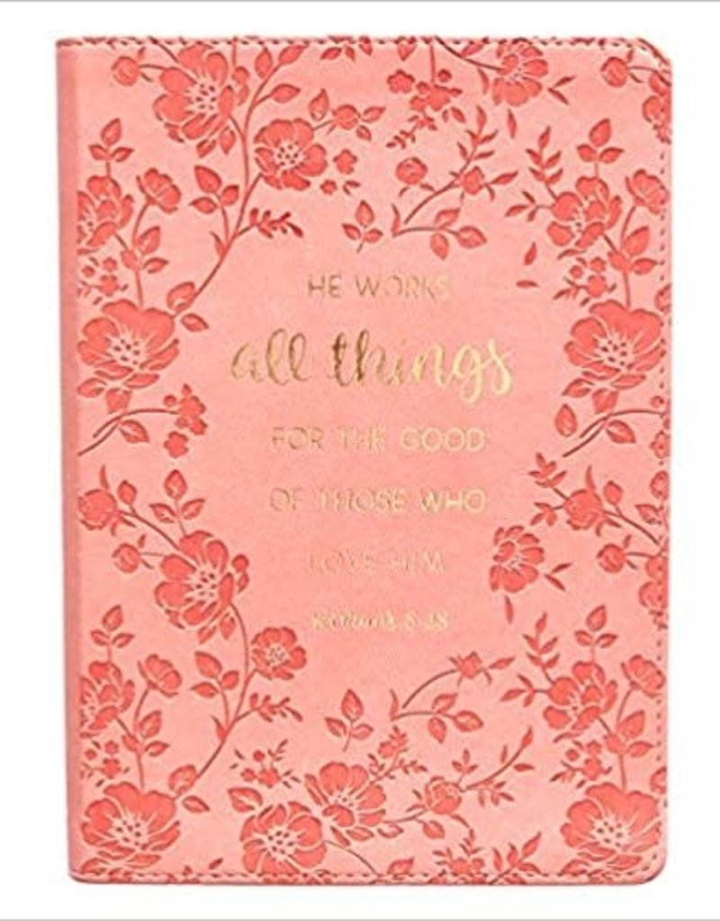 All Things For The Good Pink LuxLeather Journal - Romans 8:28