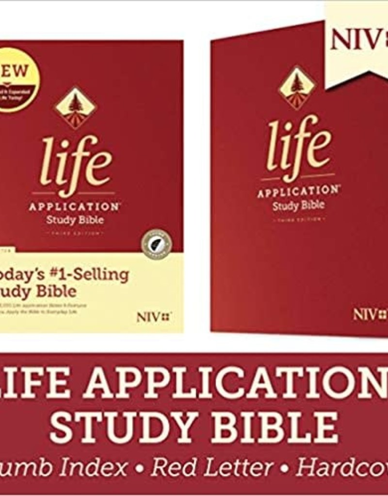 LIFE APPLICATION STUDY BIBLE (Third Edition)-Red Letter-Hardcover Indexed