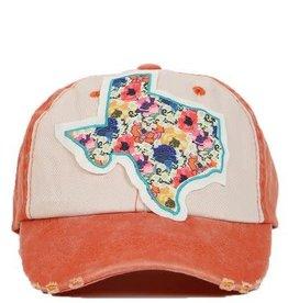 Vibrant Orange Floral Texas Hat
