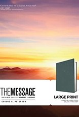 The Message Large Print Hardcover Deluxe, Charcoal Linen Cross
