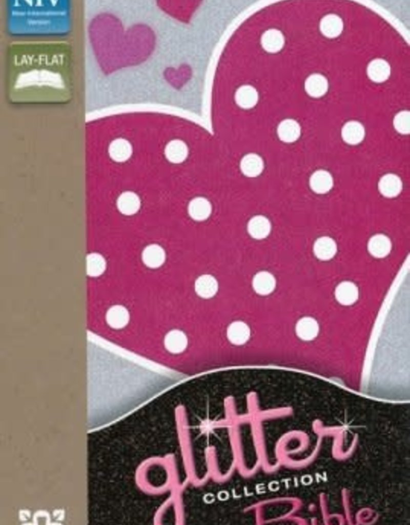 NIV Glitter Bible -flexible cover, pink polka-dot heart