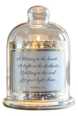 GLASS DOME W/LED CANDLE MATTHEW 5:16