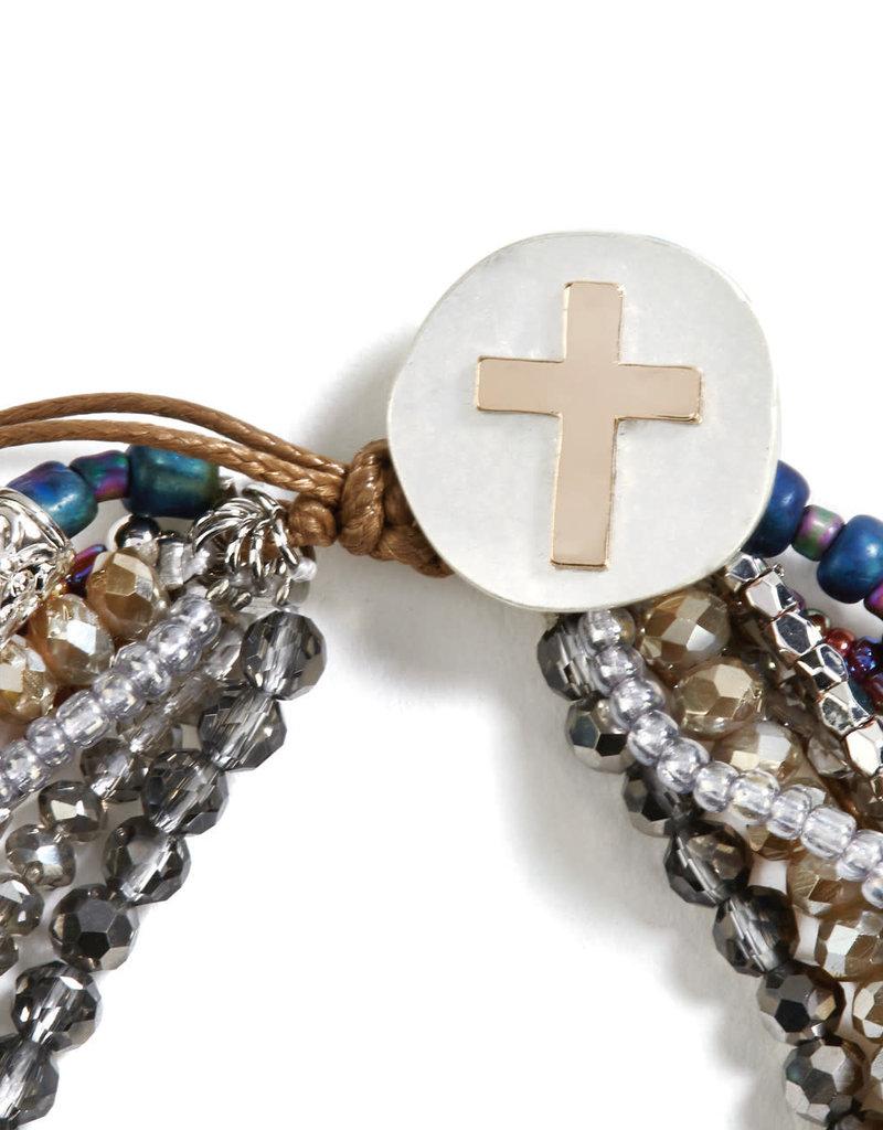 Gray Your Journey Prayer Bracelet