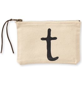 INITIAL CANVAS COSMETIC BAG  T