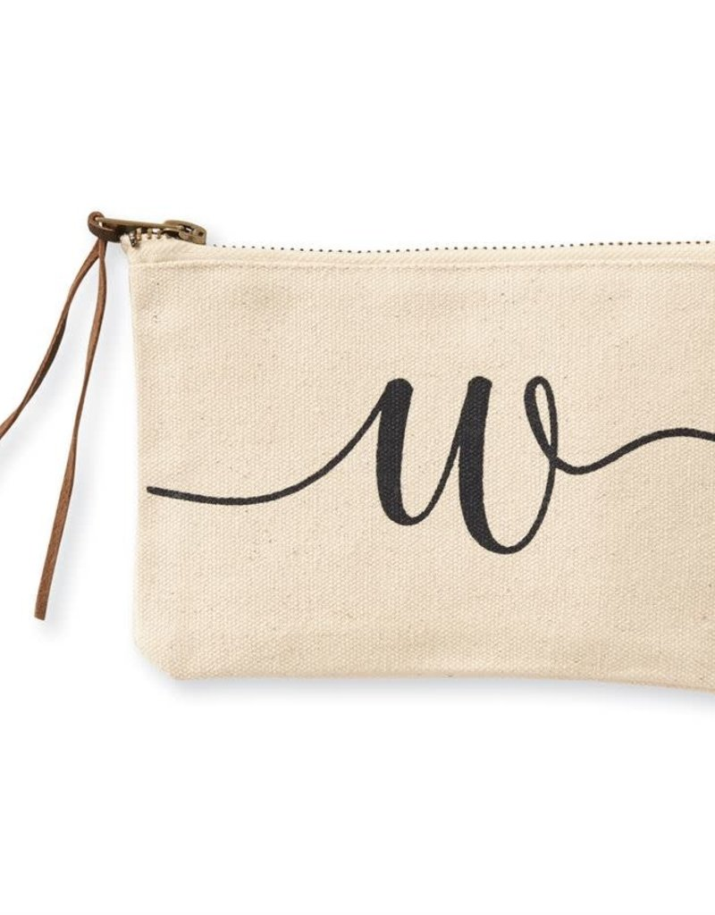 INITIAL CANVAS COSMETIC BAG  W