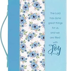 Blue Flower Bible Cover LARGE