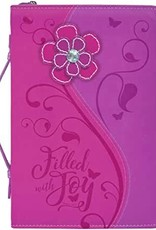 Pink Daisy Filled With Joy Bible Cover LARGE