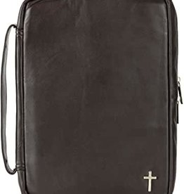 Brown with Silver Leather Cross Bible Cover - LRG