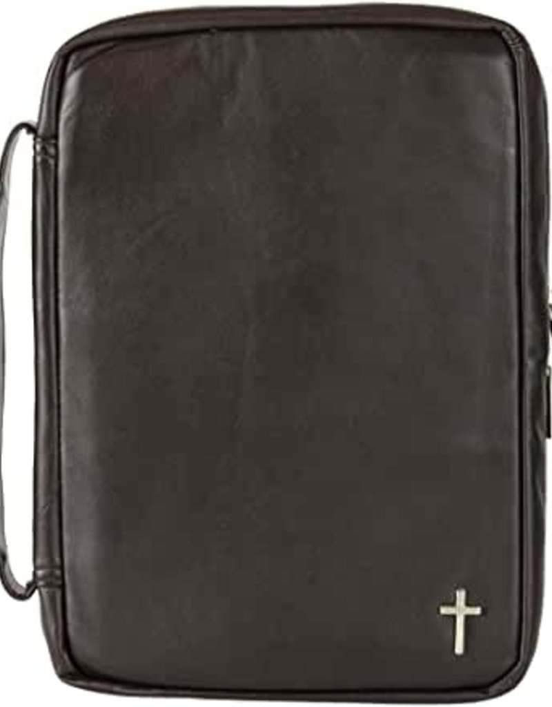 Brown with Silver Leather Cross Bible Cover - LRG PRINT