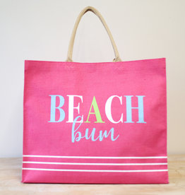 Beach Bum Carryall Tote in Hot Pink/Aruba Blue