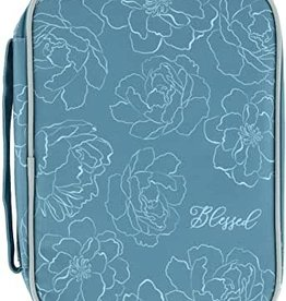 Blue Floral Blessed Bible Cover-Gifts of Faith - sz Lrg