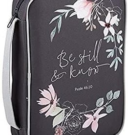 Be Still & Know Drk Grey Floral Bible Cover - Gifts of Faith - Sz Lrg