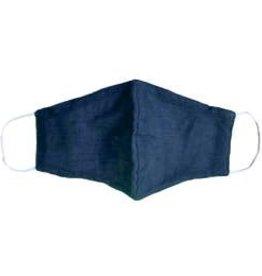 Navy Blue Cotton Wide Face Masks w/Filter Slip