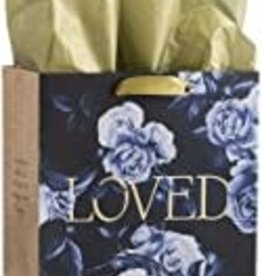 Gift Bag-Specialty-Elegant Flowers Loved-Romans 5:5-Medium