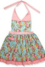 Blue Floral & Pink Dot Vintage Apron