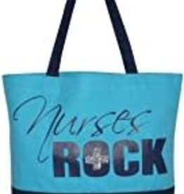 """Nurses Rock"" Canvas Tote (Blue)"