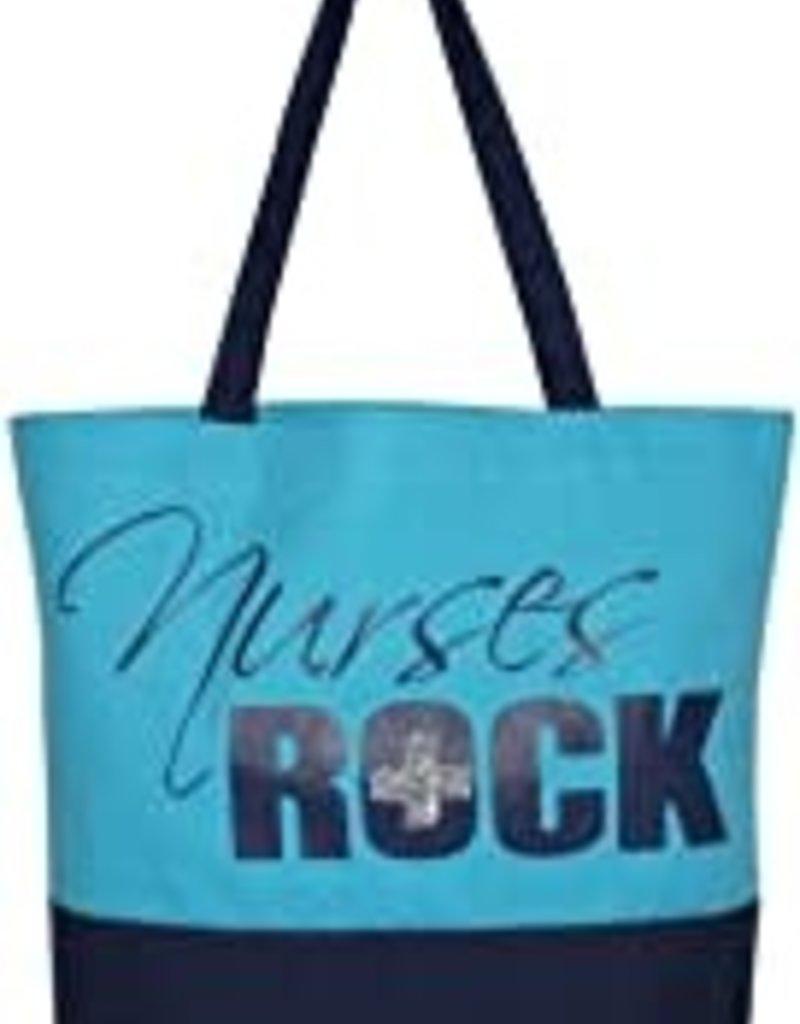 """""""Nurses Rock"""" Canvas Tote (Blue)"""