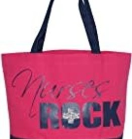 """Nurses Rock"" Canvas Tote (HOT Pink)"