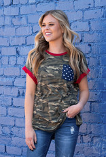 God Bless the USA Camo Top  w/ Star