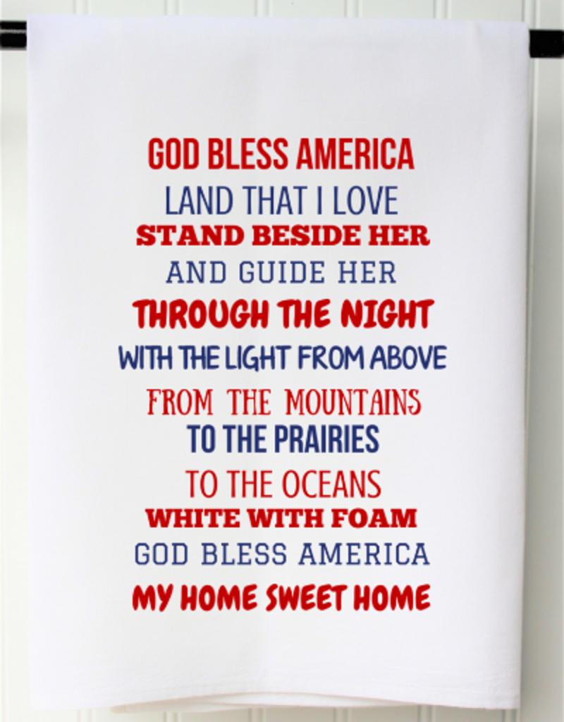 Patriotic Flour Sack Towel- God Bless America
