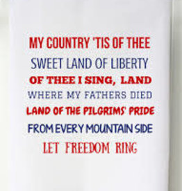 Patriotic Flour Sack Towel- My Country Tis of Thee
