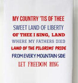 Patriotic Flour Sack Towel- My Country Tis of Thee