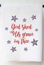 Patriotic Flour Sack Towel- God Shed His Grace
