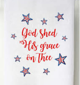 Patriotic Flour Sack Towel- God Shed His Grace