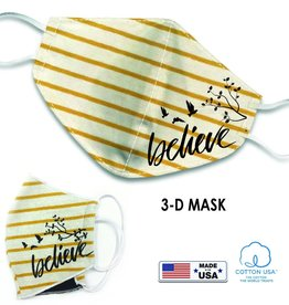Face Mask- Yellow Striped w/ Believe
