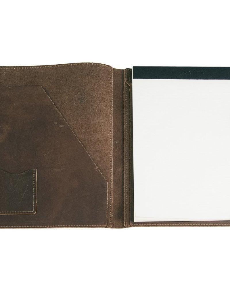 Large Leather Pad Portfolio- Dark Brown