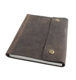 Writers Log Large Leather Notebook- Dark Brown w/ Snap