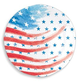 Red, White & Blue Melamine Serveware Large Round Platter