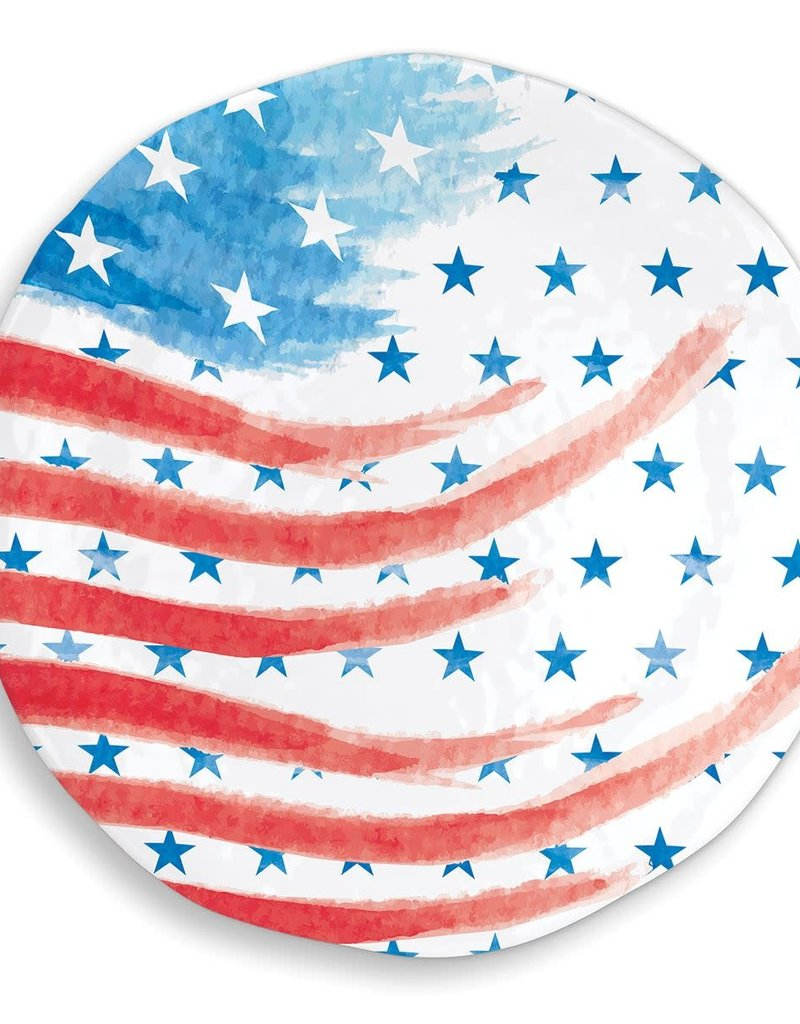 Red, White & Blue Melamine Serveware Large Round Platter