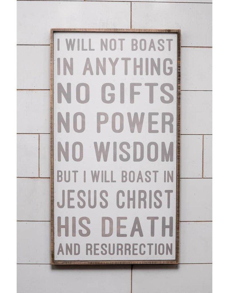 40'' x 22'' I Will Not Boast Hymn Wall Art