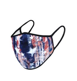 Face Mask-Red White & Blue Tie dye Stars